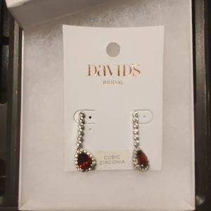 Garnet gemstone pear drop earrings